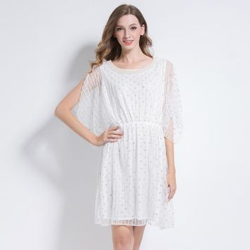 Luxury Women Sequin Beading Embellished Party Formal Dress Pearl Trimming Mesh Cloak Sleeve White Dress