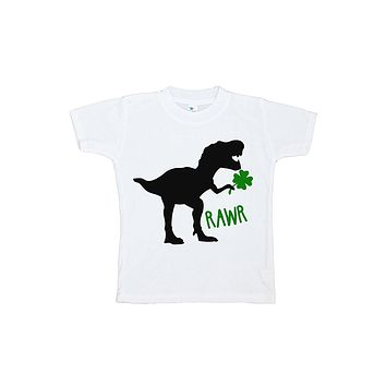 Custom Party Shop Kids Dinosaur St. Patricks Day T-shirt