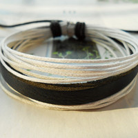 Spring Gift Cute White Hemp ropes Multilayer Fashion Leather Belt Cuff Adjustable Wrap Bracelet  M-82