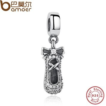 925 Sterling Silver Ballet Slipper Pendant Charm Fit Bracelet & Necklace DIY Jewelry Making PAS186