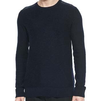Cashmere Plaited-Shoulder Crewneck Sweater, Navy, Size: