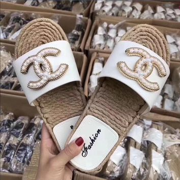Chanel Fashion Summer Beach Women Casual Pearl Non-Slip Flat Sandals Slippers Shoe