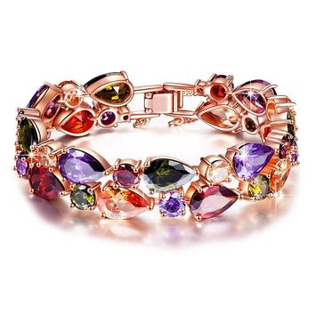 Multi Colored Crystal Tennis Bracelet Rose Gold or Silver Plated Cubic Zirconia Bracelets for Women Girls