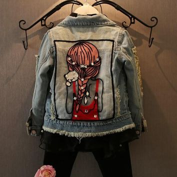 Trendy New Kids Clothes Children Girls Jackets Cool Kid Long Sleeves Turn-down Collar Buttons Coats Pocket Girl Pattern Denim Outerwear AT_94_13