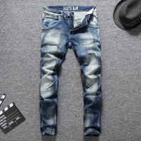 Men Fashion Blue Rinsed Denim Stretch Denim Slim Pants Jeans [748306497629]