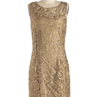 ModCloth Vintage Inspired Mid-length Sleeveless Shift A Sweet Aperitif Dress in Gold