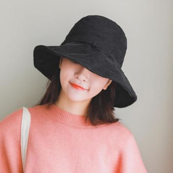 SUOGRY 2018 New Fashion Tide Summer Spring Yellow Black Woman All-match Cube Hat Cupola Simple Wild Corduroy Fisherman Hat