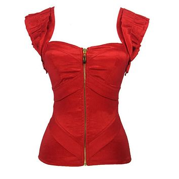 Women's Vintage Victoria Corset Fashion Red Satin Corset Push Up Summer Tank Tops  Top Zipper Bustiers  Prom Top Corset Cropped