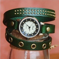 MagicPiece Handmade Vintage Style Leather Watch For Women Leather Wrap Watch of Vintage Style in 5 Colors: Green