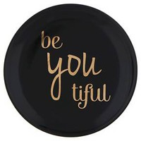 "Women's Round Ceramic Trinket Tray with ""be you tiful"" Text - Black"