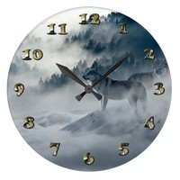 Wolves in Snowy Winter Landscape Large Clock