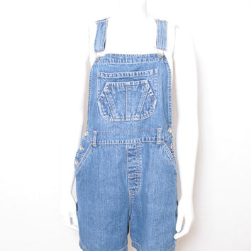 Vintage No Excuses Denim Jean Overalls Shorts, Perfect for Music Festival Chic