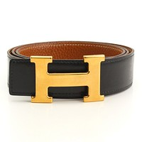 AUTHENTIC HERMES CONSTANCE H BELT BLACK x BROWN GRADE B USED -AT