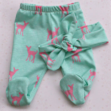 Sweet fawn footed baby pants with matching headband - light teal and pink - New Baby Gift Set - Coming Home