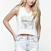 Lira Wander V-Neck Cropped Muscle Tank Top - Womens Tee - White
