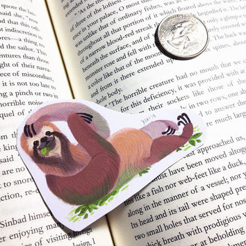 happy three toed sloth sticker or magnet