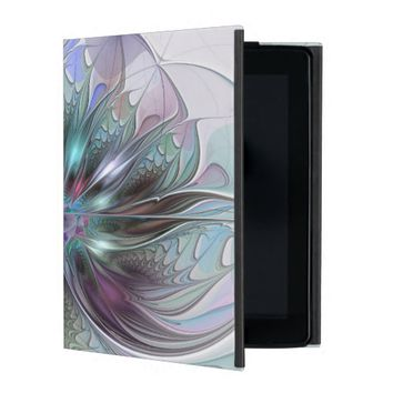 Colorful Fantasy, abstract and modern Fractal Art iPad Folio Cases