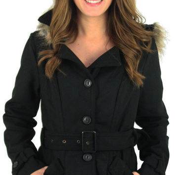Dollhouse Sara Women's Belted Peacoat Wool Coat Jacket Plus Size Avail
