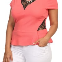 Lace Flare Top - Coral - Plus Size - 1X - 2X - 3X