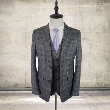 Grey Tweed Men Custom Made mens 3 piece suit