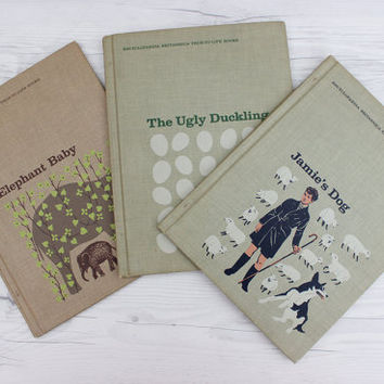 Vintage Set of 3 1960s Children's Hardcover Books Collection | Encyclopedia Britannica True to Life Books