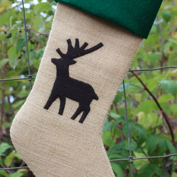 Burlap and Reindeer Christmas Stocking- Choose your colors