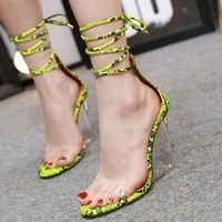 Women Snake Print Open Toe Lace Up Clear Platform Sandals