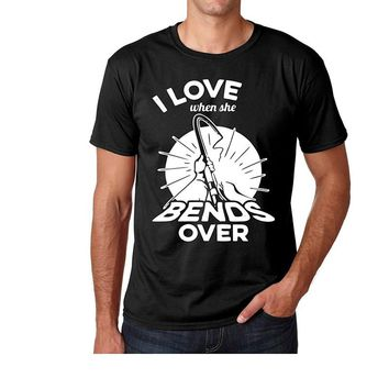 I Love When She Bends Over Fishing Printed T-Shirts - Men's Crew Neck Novelty Tee