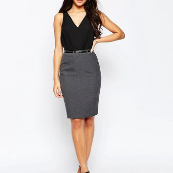 ASOS Belted Pencil Skirt with Seam Detail
