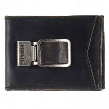 Fossil Carson Vintage Black Bifold Money Clip ID Wallet