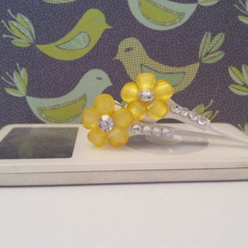 New Yellow frosted petal flower earbuds with swarovski crystals
