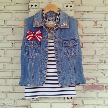 Vintage Studded Denim Vest With Red and White Stripe Bow