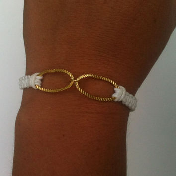 Gold Linked Chain on Knotted Leather Cord You Choose Color Free Shipping