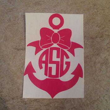 Custom/Personalized Vinyl Anchor Car Decal With Monogram and Bow