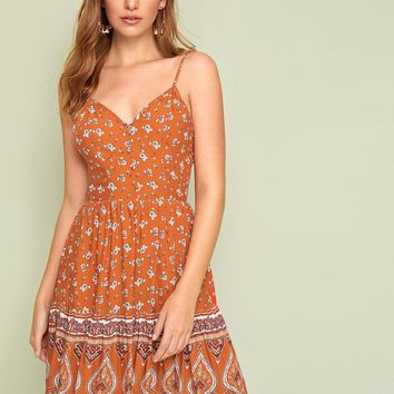 Floral & Tribal Tie Back Button Detail Slip Dress