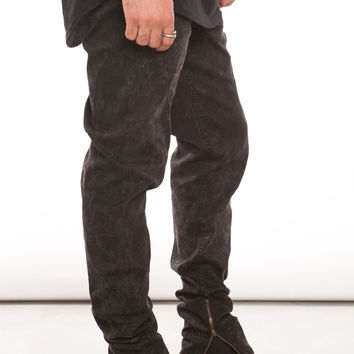 Black Acid Wash Tapered Zip Pant