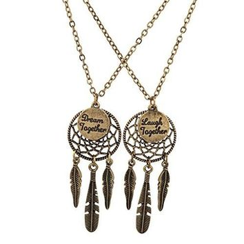 Lux Accessories Dream Laugh Together Dreamcatcher BFF Best Friends Necklace Set