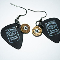 Jack Daniel's Guitar Pick Bullet Earrings - Matte Black and Brass