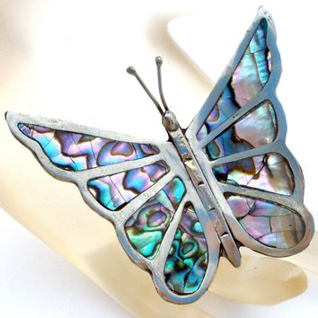Abalone Shell Butterfly Brooch Pin Sterling Silver Vintage