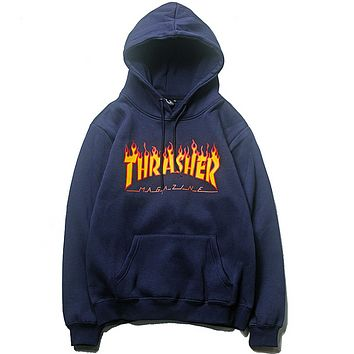 Thrasher New Fashion Autumn And Winter Bust Flame Print Couple Hooded Long Sleeve Top Sweater Blue