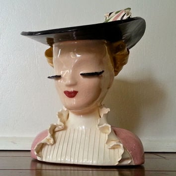 "Antique Nancy by Betty Lou Nichols 6"" head vase, pink and white ruffle blouse with black hat, california pottery"