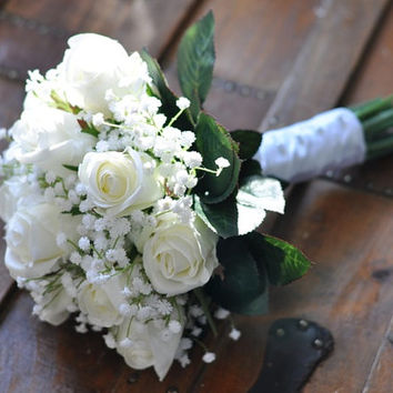 Wedding Flowers, Wedding Bouquet, Keepsake, Bridal Bouquet, Wedding Flowers, Wedding Bouquet, Ivory, White Roses with Babies Breath Bouquet.