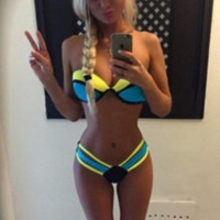 Color Block Bandage Swimsuit
