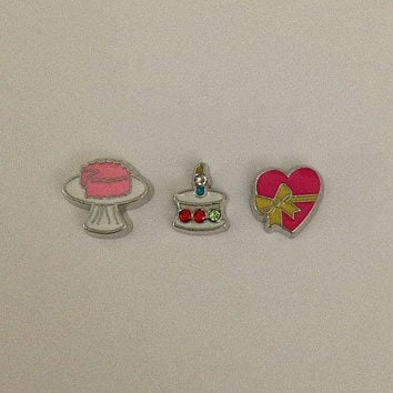 Floating charms for living memory lockets - cake on platter, cake with crystals, pink heart with bow