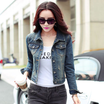 Autumn Winter Long Sleeve Slim Jeans Jacket Women Casual Denim Short Jacket Single Breasted Lapel Chaquetas Mujer Y00153