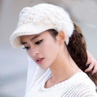 PEAP9GW Womens Knitting Wool Beanie Hat Top Hollow Off For Ponytail Hair Casual Warm High Quality with rabbit fur