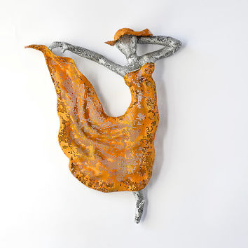 Dancer art - Metal art sculpture - Dancer Sculpture - home decor - woman dancing - wall hanging