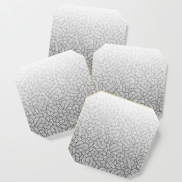 Gradient black and white swirls doodles Coaster by savousepate