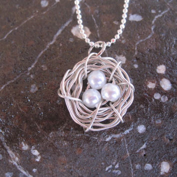 Silver Three Eggs Bird Nest Necklace, Summer Trends, Gift