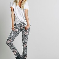 Free People Womens Fern & Flower Cord Skinny - Tea Combo